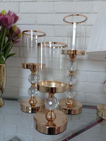 Świeczniki Glamour francuskie złoto 3 rozmiary