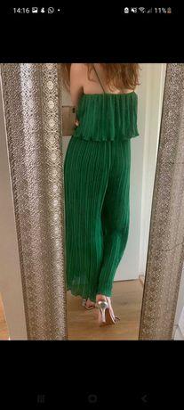 Macacão plissado verde zara
