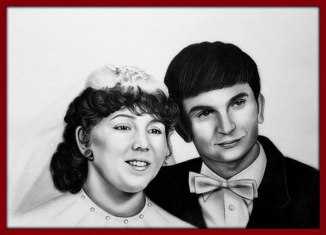 Portret ze zdjęcia rysunek ołówkiem a4 a3 prezent urodziny imieniny