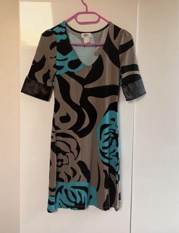 Sukienka tunika Bonprix 34/36 brązowo niebieska