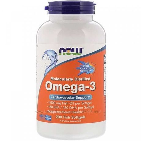 iHerb Now Foods Омега-3, очищенная на молекулярном уровне, 200 капсул