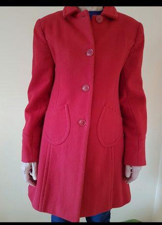 Czerwony wełniane płaszcz na jesień r S/M