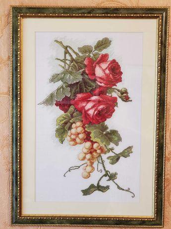 """Вышивка крестом. """"Розы, виноград"""". 39*54см."""