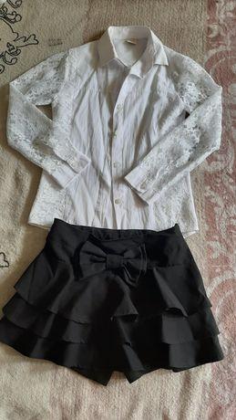 Юбка-шорты и блузка на 9-10 лет