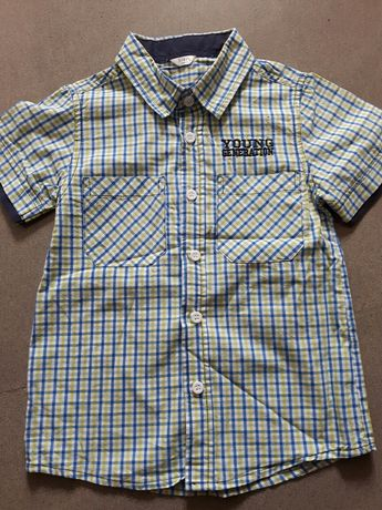 Koszula chlopieca krotki rekaw 104cm kratke kratka