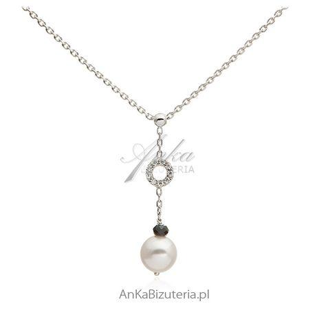 ankabizuteria.pl Srebrny naszyjnik z białą perełką