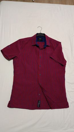 Koszula męska casual czerwono granatowa krótki rękaw Reserved