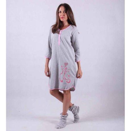 Женская ночная рубашка теплая для кормящих(начес) серая р.44-56
