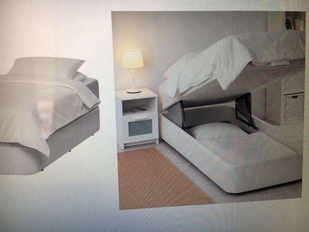Cama solteiro com arrumação e com colchão (preço 1 cama + 1 colchão)