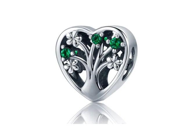 Charms PANDORA srebro 925 serce miłość drzewo kwiaty zielone cyrkonie