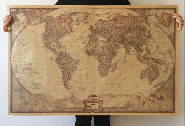 Mapa mundo vintage,(72 x 48 cm) novo!