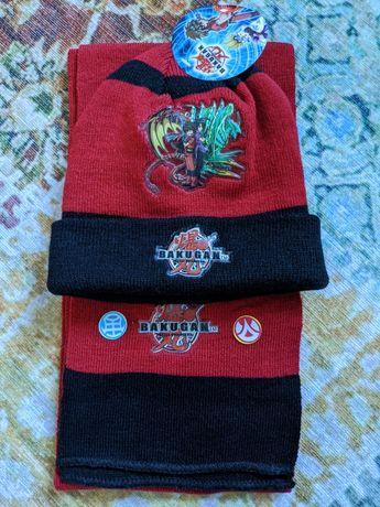 Новий набір шапка шарф, новый набор теплая шляпа bakugan