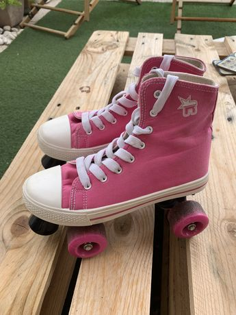 Patins 4 rodas cor rosa
