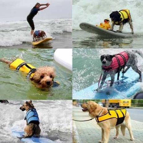 Colete ajustável, refletor, salva vidas para cães - XS - Azul