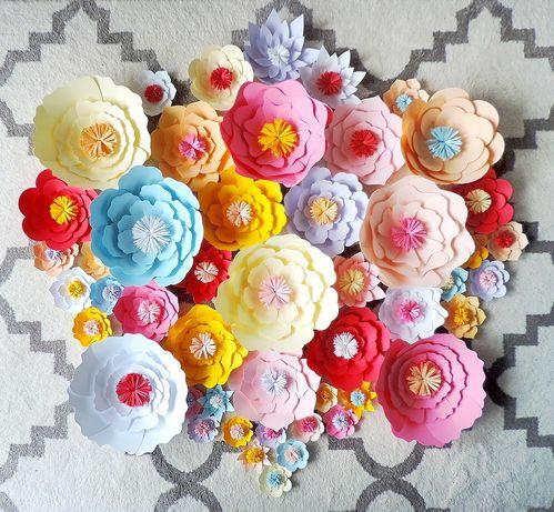 Papierowe kwiaty do dekoracji paper flower chanel urodziny wesele