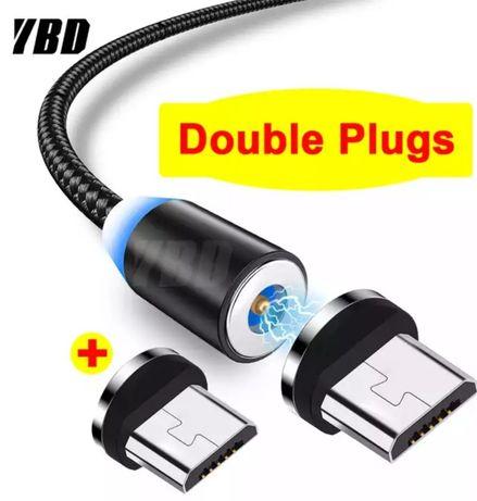 Магнитный кабель USB c двумя коннекторами для зарядки .