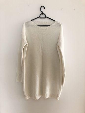 Biały dłuższy wełniany sweter sweterek 38