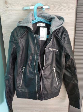 Modna nowa kurtka chłopięca eco skóra szara dresówka H&M r. 146