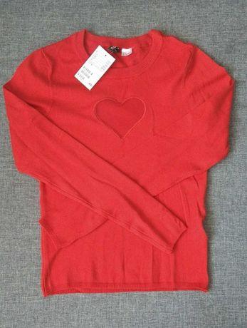 Sweterek czerwony nowy h&m r. S