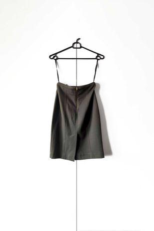 spódnica H&M oliwkowa ołówkowa elegancka dopasowana zamek biurowa