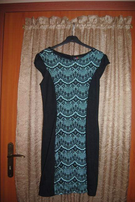 Sukienka z koronką czarno - zielona rozm. 36-38