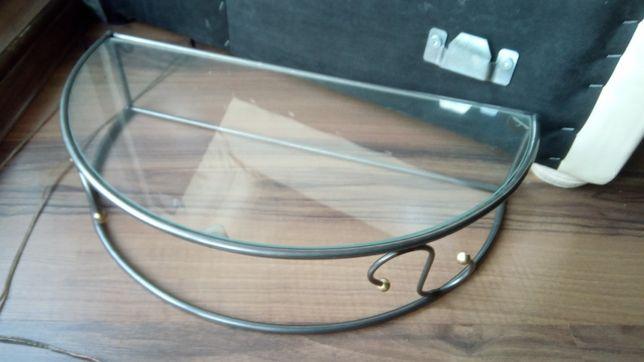 Polka metalowa szklana blat 50cm