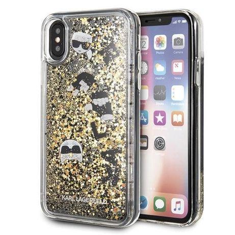 Capa Karl Lagerfeld Klhcpxrogo Iphone X / Xs Preto-Dourado / Preto &Amp; Dourado Hard Glitter