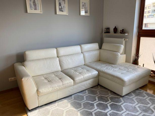 Biała skórzana sofa narożnik Katalia