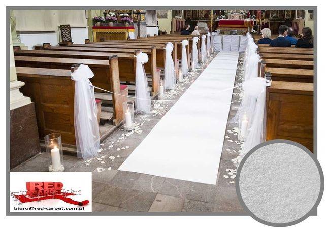 Super Wykładzina Biały dywan na ślub chodnik Śnieżnobiały  PRECOAT 1m