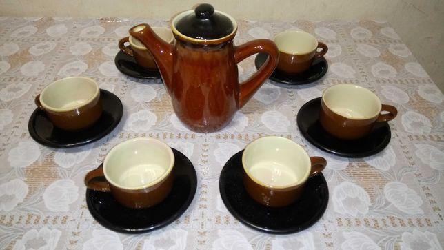 Кофейный сервиз керамический на 6 перс чашка блюдце заварник кофейник