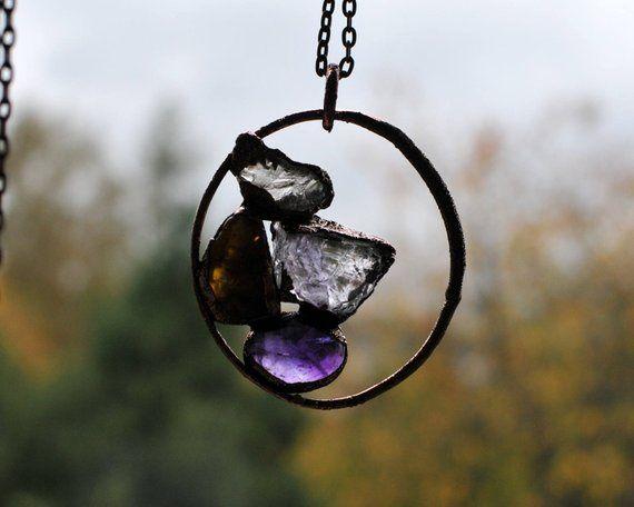 Colar de cobre com cristais de quartzo e ametista, artesanal, novo