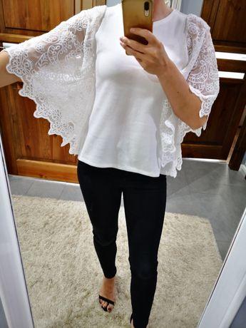 Elegancka biała bluzeczka z koronkowymi rękawkami rozm. M