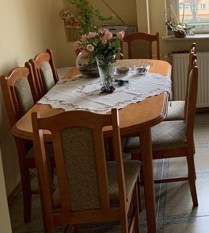 Stół jadalniany rozkladany + 6 krzeseł