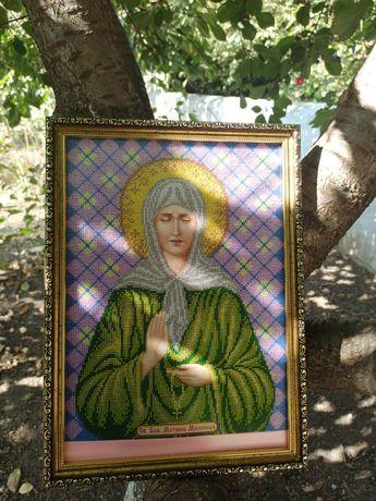 Продам ікону з бісеру св.Блж.Матрона Московская