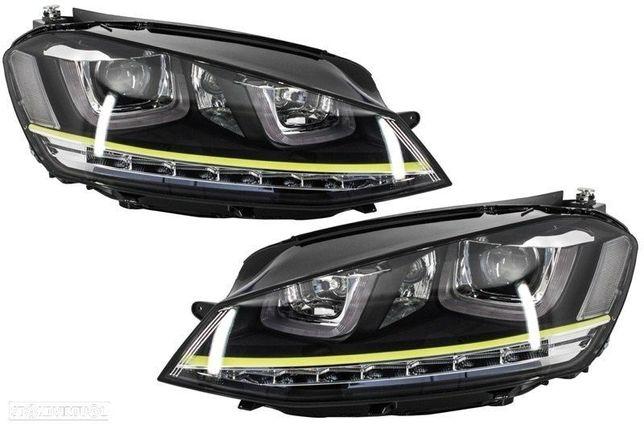 Conjunto Farois Vw Golf VII Opticas Volkswagen Golf 7 Amarelo