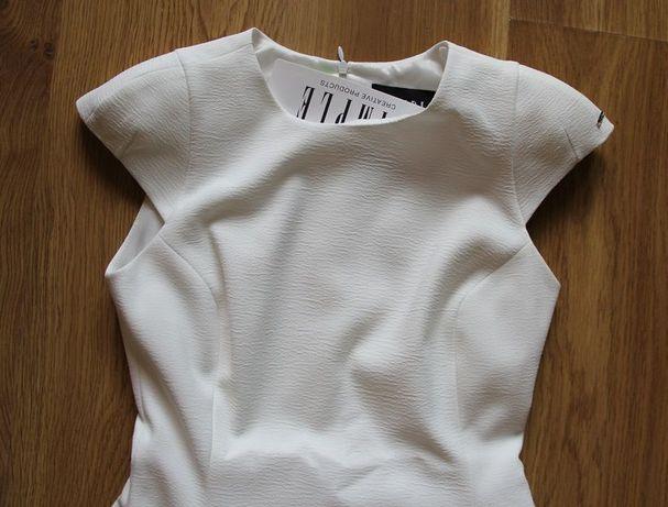 SIMPLE biała sukienka ślub wesele chrzest 34 xs 36 s biel ecru
