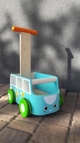 Plan Toys, Drewniany chodzik, niebieski van, pchacz samochodzik