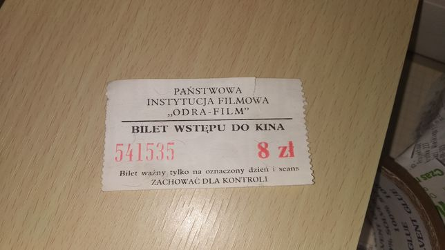 Bilet wstępu do kina Odra Film, stary bilet Kino Gdynia Świdnica