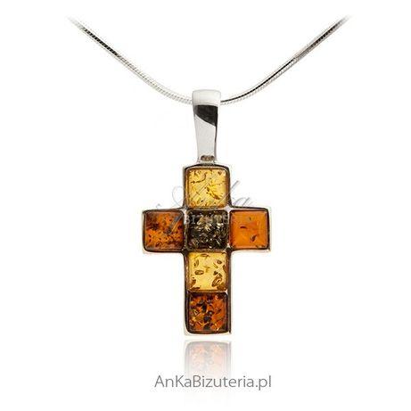 ankabizuteria.pl Kolczyki Kruszec Krzyżyk z bursztynem Biżuteria srebr