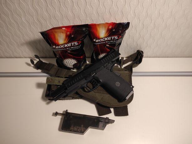 ASG Replika Colt 1911 KJW KP-08+kabura+szybkoładowarka+dwie paczki kul