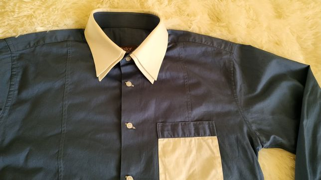 """Ідеальна чоловіча сорочка """"i Tailor"""" синього кольору 100% котон"""