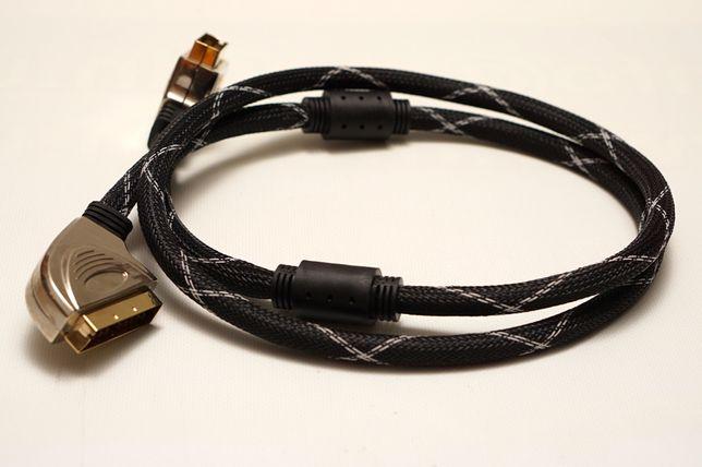 Качественный Аудио-Видео кабель SCART-SCART, 1,5м, экран,оплетка, Gold