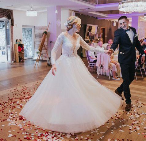 Suknia ślubna delikatna, długi rękaw