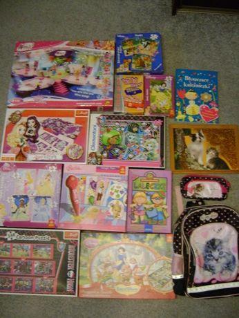 Zestaw gier, klocków i puzzli dla dziewczynki 4-8 lat+plecak GRATIS!