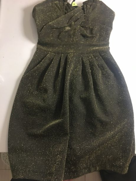 BROKATOWA sukienka WESELE h&m XS S złoto zielona błyszcząca bardot