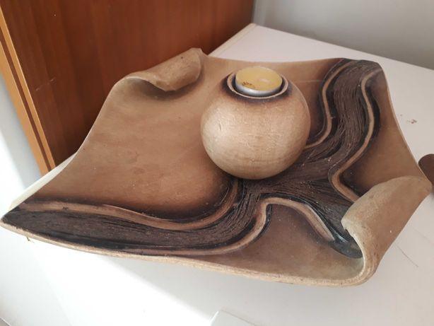Prato de decoração com vela