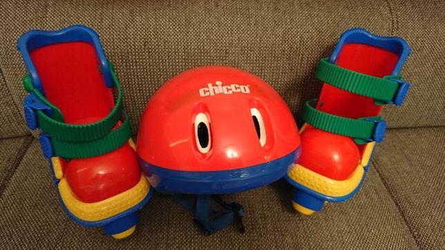 Wrotki rolki dzieciece chicco do nauki jazdy plus kask