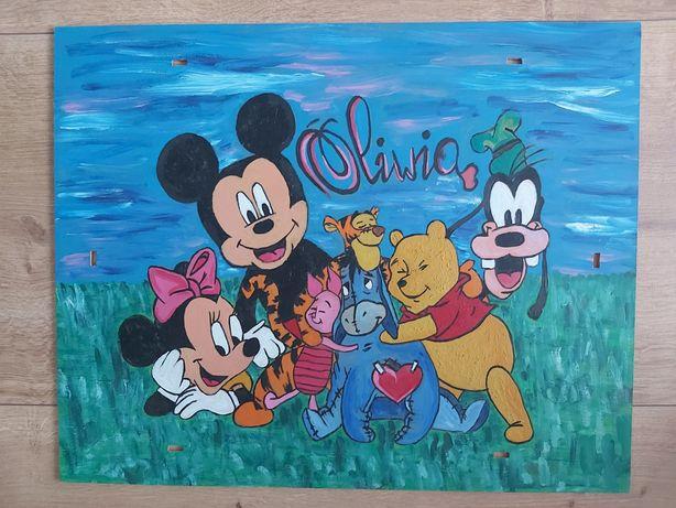 Obraz ręcznie malowany Oliwia minnie, Kubuś puchatek, Disney