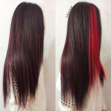 Безопасное наращивание волос,капсуляция,цветные пряди, цветной ряд