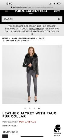Karl Lagerfeld kurtka skorzana ramoneska ORYGINALNA M czarna z futrem